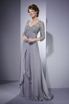 Beaded Sexy Lace 3/4 Sleeve Gray A Line V Neck Chiffon Mother Of The Bride Dress Mother'S Formal Wear Custom 2 4 6 8 10 12 14 16 8 20 22 24+ Grandmother Of The Groom Dresses Green Mother Of The Bride Dresses From Vickydress2015, $108.85| Dhgate.Com