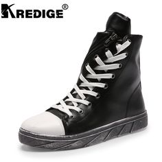 KREDIGE High Top Velvet Leather Shoes Men New Arrival Casual Breathable Male Shoes Lace-up Retro Men Flat Shoes Deodorant Boots