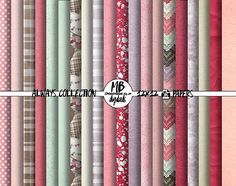 PAPERS, love, always, forever, hearts, elegant, red, blush, lavender, purple, tan, mint green, digital scrapbooking by MelanieBrittDigitals on Etsy  Suggested uses for these papers: digital scrapbooking, craft projects, graphic design, stationery, party printables, teacher resources, photoshop, illustrator, surface patterns and more!