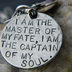 I Am the Master of my Fate, I am the Captain of my Soul with Small Compass Handstamped Necklace. If someone needs an idea for me for christmas. Just sayin.
