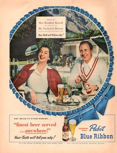 1949 Pabst Blue Ribbon Beer Vintage ad for by catchingcanaries