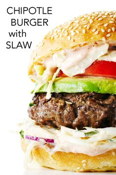 Infused with smoky chipotle peppers, adobo sauce and cumin, these tasty beef burgers are topped with a kickin' creamy coleslaw and a spicy special sauce. #BiteMeMore #burgers #recipes