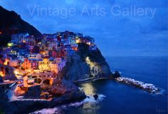 ITALY Fine Art Print  CINQUE TERRE  by RareVintagePatterns on Etsy