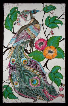 Peacock Among Flowers - Batik Wall Hanging - Tapestry Batik Art - Hand made.