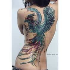 Majestic Phoenix Back Tattoo