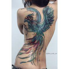 Majestic Phoenix Back Tattoo