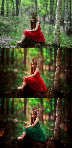 There are two different edits, one full composite edit of Liliana in the red dress and then the butterflies and dress change composite. I added in 7 butterflies for each year of my daughter Liliana's age as this was her birthday shoot. <3 In the workshops we go over combining several images together, extending our canvas, manipulating light, how to change clothing color, how to add in butterfly overlays, how to achieve a dreamy and whimsical edit, color toning, retouching, and more.