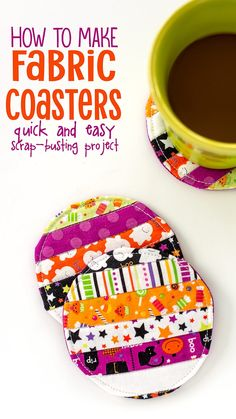 Scrap Buster Alert: Easy Quilted Fabric Coaster Tutorial Learn how to make DIY fabric coasters with this easy Fabric Coaster Tutorial. It's simple to foll Scrap Fabric Projects, Diy Sewing Projects, Sewing Projects For Beginners, Fabric Scraps, Quilting Projects, Sewing Hacks, Sewing Tutorials, Sewing Patterns, Sewing Tips