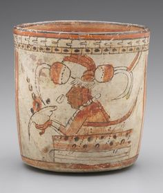 A.D. 600-900.   Mexico, Maya, Campeche. Vessel with Scribes