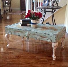 Shabby chic vintage trunk lid coffee table. What A Great Idea! Great for when I come across old trunks with worn out bottoms but solid lids!