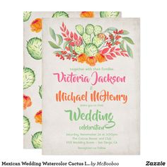 Mexican Wedding Watercolor Cactus Invitations Engagement Party Invitations, Save The Date Invitations, Bridal Shower Invitations, Invites, Mexican Wedding Invitations, Modern Invitations, Invitation Ideas, Watercolor Cactus, Watercolor Wedding