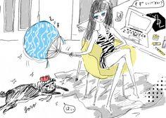 a paper fan: illustration by akiko hiramatsu