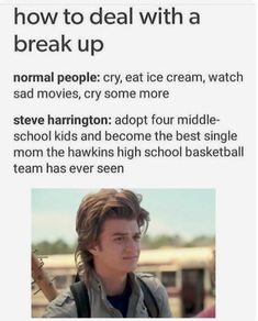 How to deal with a break up normal people: cry, eat ice cream, watch sad movies, cry some more steve harrington: adopt four middle- school kids and become the best single mom the hawkins high school basketball team has ever seen - iFunny :) Stranger Things Have Happened, Stranger Danger, Stranger Things Funny, Stranger Things Steve, 9gag Funny, Funny Memes, Mom Funny, Mom Meme, Funny Stuff