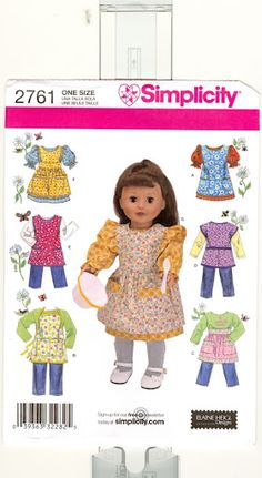 "Free Copy of Pattern - Simplicity 2761 (for 18"" dolls) ~ don't know how anybody has the nerve to offer this for free but ..."