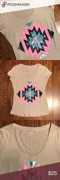 Express Sequin Aztec Beige Graphic Tee Scoop neck Express — Beige Colored Top — Aztec Design — Sewn Sequins with Black, teal & Neon Pink Sequins — Short sleeves — wonderful condition. Express Tops Tees - Short Sleeve