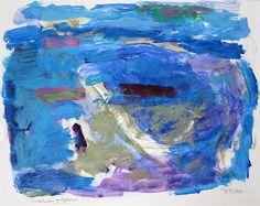 """Carl Nesjar, """"Sandstrender og kyst"""""""", painting on paper. Galleri Henrik Gerner"""