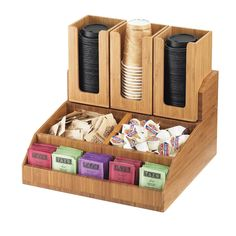 Buy the Cal-Mil Coffee Condiment Organizer at KaTom. Quick Shipping Now on thousands of restaurant supplies. Coffee Shop Design, Cafe Design, Bamboo Cups, Coffee Station Kitchen, Condiment Caddy, Bar Station, Lid Organizer, Sauce Barbecue, Coffee Corner