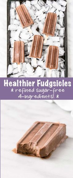 Healthier Homemade Fudgsicles have 4 ingredients, made in 10 minutes, and are a crazy yummy frozen treat! #vegan #chocolate #popsicles