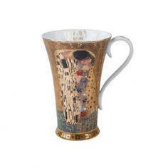"""Goebel - Artis Orbis - Gustav Klimt - The Kiss - Artist mug - Porcelain Artist mug with gold-plated décor showing """"The Kiss"""" by Gustav Klimt. Dishwasher safe but recommended to wash by hand with a mild cleanser to preserve the brilliant colours and gold decor.. Height: 15 cm. Diameter: 13.5 cm. Content: 0.5 l. Gustav Klimt, Kiss Painting, Orbis, Milky Way, Colours, Mugs, Artwork, Amazon Fr, Merengue"""