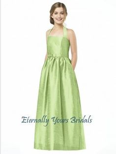b29072d3872 Dessy Collection Junior Bridesmaid style JR 501 is the Junior version of  style halter full length dupioni dress with matching skinny belt and  pockets at ...