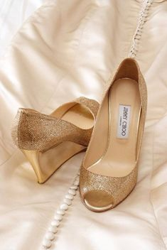 Beautiful gold shoes add a touch of shimmer