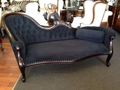 Chaise Lounge Victorian French Provincial Sofa Antique Reproduction Black