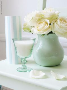 Touch of mint amp white vase with roses for the master bedroom more