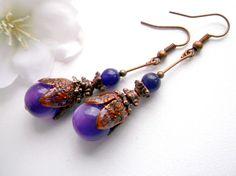 Purple earrings, enamel dangle, copper flower earrings.