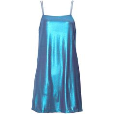 Silky Slip Dress in Shine On Blue Opal by Motel ($57) ❤ liked on Polyvore featuring dresses, loose fitting dresses, cocktail mini dress, blue cocktail dress, wet look dress and shiny dress