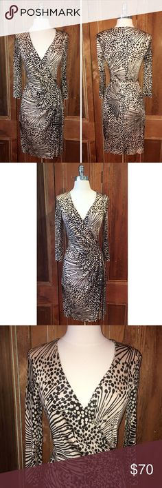 """Trina Turk Signature Print Long Sleeve Wrap Dress 100% rayon  Approximate measurements flat across, unstretched Chest 15"""" Length 37"""" Shoulders 15"""" Sleeve length 17.5""""  d141 Trina Turk Dresses Long Sleeve"""
