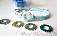 Alessia scrap&craft: Braccialetti estivi fai da te con rondelle da ferramenta e smalto glitter
