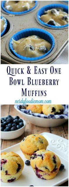 Quick & Easy One Bowl Blueberry Muffins recipe - these are a great snack or breakfast option especially for busy weeks!
