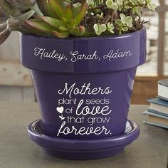Buy Seeds of Love Personalized Flower Pots for Mom you can customize with custom engraved names of all her kids. Mothers Day Plants, Mothers Day Flower Pot, Painted Clay Pots, Painted Flower Pots, Painted Pebbles, Grandmas Mothers Day Gifts, Mom Gifts, Flower Pot Design, Clay Flower Pots