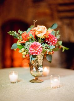Rose and dahlia floral centerpiece.  Photo by Ali Harper.