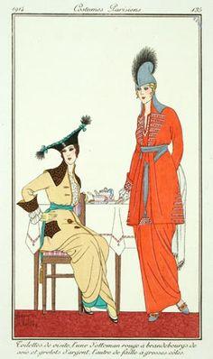 Armand Vallée (French, fl.1912-1914). Plate 135. Toilettes de visite, l'une d'ottoman rouge à brandebourgs de soie et grelots d'argent, l'autre de faille à grosses côtes. 1914