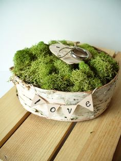 Ring Bearer Pillow Birch Bark Rustic Woodland Country Cottage Chic Farmhouse Backyard Nest Pillow