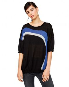 Shop Maxi sweater with inlay Black for Crew Neck at the official United Colors of Benetton online shop.