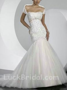 Junoesque Lace Satin Applique Wedding Gown Mermaid Strapless Bridal Dress