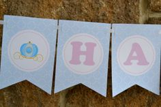 Cinderella Inspired Theme, HAPPY BIRTHDAY BANNER, Princess Birthday Party Decorations in Pink and Blue