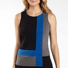 Worthington® Sleeveless Color Block Top- Petite (blue/black combo) - jcpenney  $16