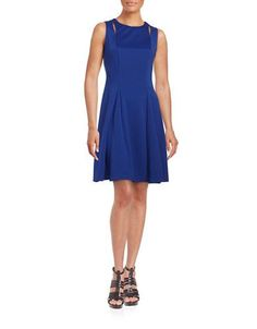 Gabby Skye Textured Fit-and-Flare Dress Women's Royal Blue 8
