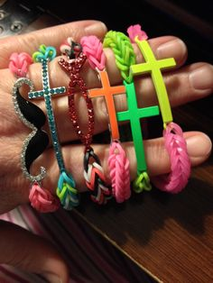 I made some new rainbow loom bracelets.