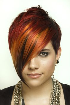 fire hair by ~coffeesong love this cut and color Pixie Hairstyles, Cool Hairstyles, Short Hair Cuts, Short Hair Styles, Hair Rainbow, Fire Hair, Corte Y Color, Hair Tattoos, Grunge Hair