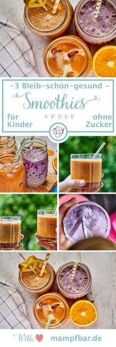 Gegen fiese Kita-Viren: 3 leckere Bleib-schön-gesund Smoothies oder Quetschten für eure Kinder. Alle ohne Zucker. Klick hier für das einfache Rezept und viele weitere schöne Ideen für deine Familie.