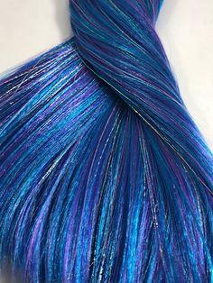 Nylon Doll Hair, OOAK Custom Color Blend, Purples / blues w/ Purple Holographic Tinsel,Rerooting Exotic Hair Color, Pretty Hair Color, Hair Color Purple, Yellow Hair, Blue Hair, Hair Tinsel, Glitter Hair, Overprocessed Hair, Fairy Hair