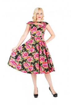 H &R 9332 Black Pink Red Painted Rose Dress Pinup Bridesmaid Vintage inspired #HRLondonHeartsandRosesDress #partyvintagestylevtgpinuprockabillyretro #Casual