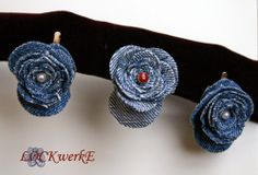 Haarnadeln aus alter Jeans / Hairpins made with old pair of jeans  / Upcycling