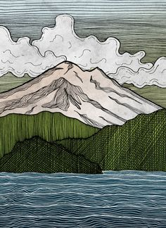 Mount Baker Print by OneRedUmbrella on Etsy