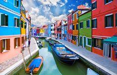 Burano Adası ve kanalları, Venedik