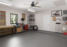 Are you going stir crazy yet? Now is the time to get some fresh air and reorganize and refresh your garage! Garage Ceiling Fan, Garage Walls, Red Walls, Yellow Walls, Cleaning Concrete Floors, Garage Paint Colors, Ceiling Fan Direction, Carport Canopy, Finished Garage